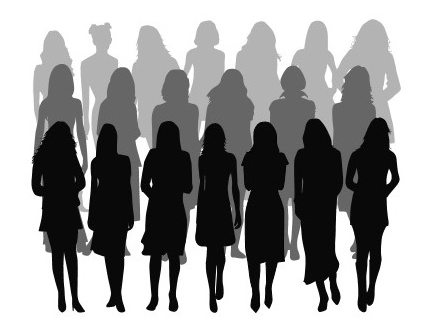 silhouettes of women standing in rows